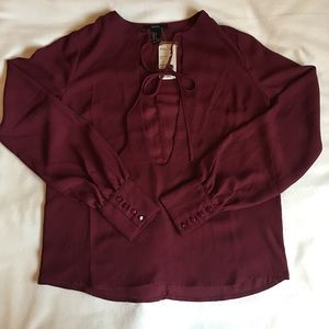 Forever 21 chiffon open front tie blouse